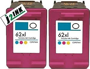 J2INK 2 Pack #62 XL Color Ink Cartridges for Envy 5640 5642 5643 5644