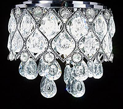 Diamond Life Modern LED Crystal Chandelier Chrome Metal Shade Flush Mount Ceiling Lighting Fixture, #C909