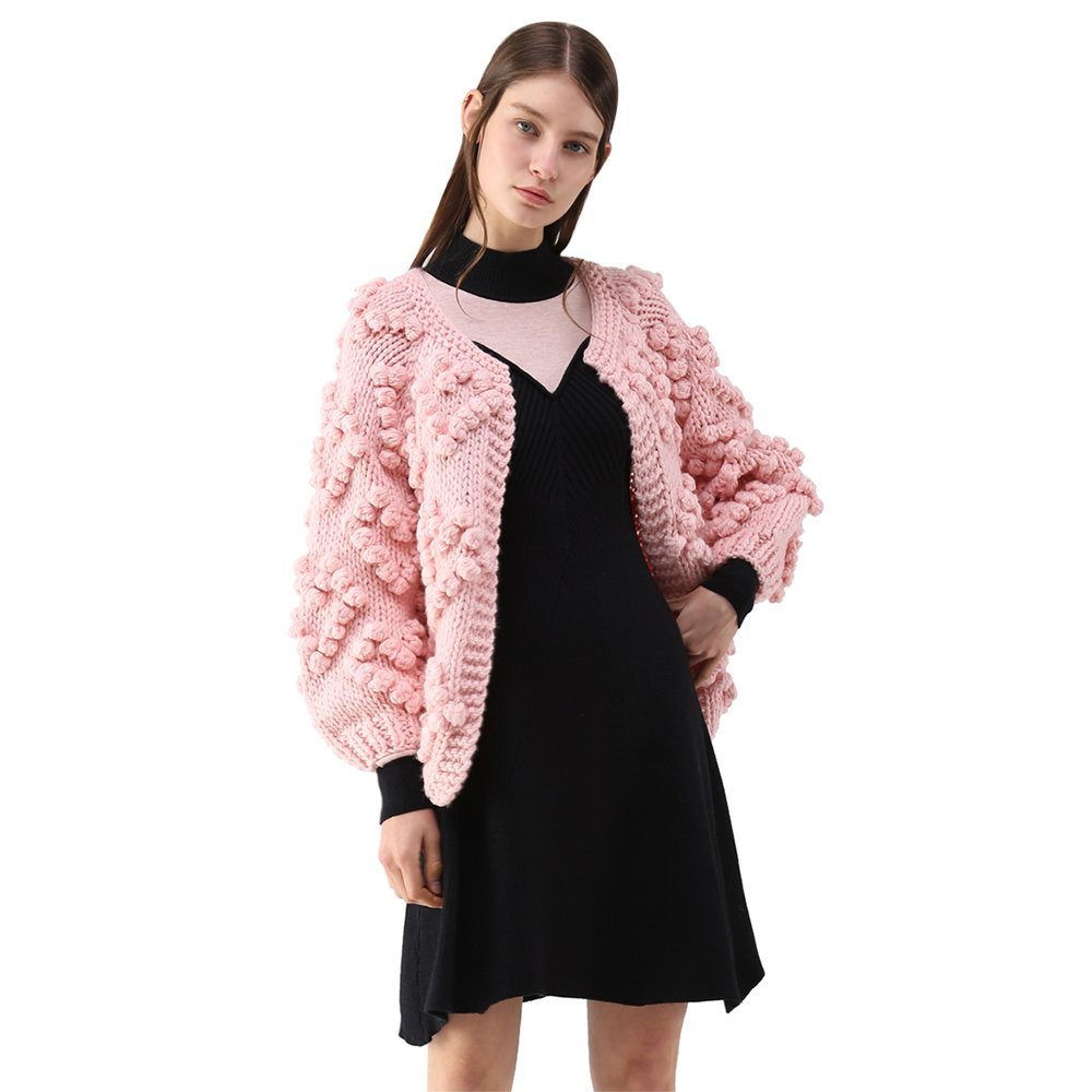 Chicwish Women's Comfy Casual Soft Heart Shape Balls Hand Knit Open Front Long Sleeve Pink Sweater Cardigan Coat, Pink, Small/Medium