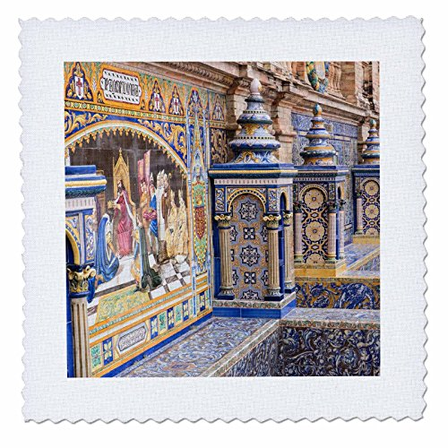 3dRose Danita Delimont - Spain - Spain, Andalusia, Seville. Traditionally decorated Plaza de Espana - 20x20 inch quilt square (qs_277896_8) by 3dRose