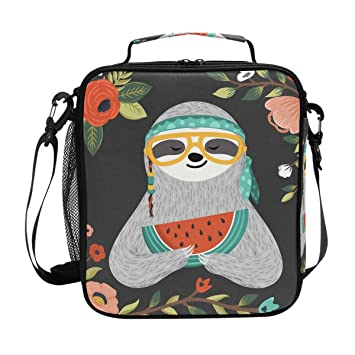 1cdd10049603 Lunch Box,Cute Baby Sloth Eating Watermelon Square Insulated Lunch ...