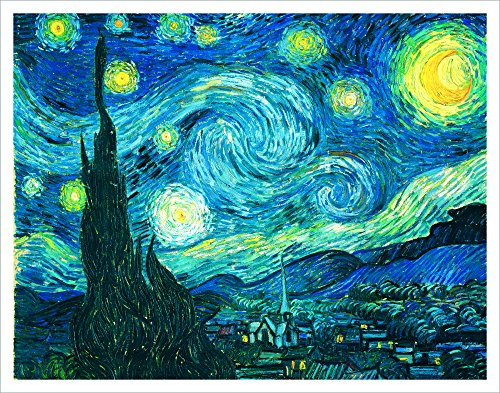 Poster Starry Print Night (Vincent Van Gogh Starry Night Decorative Fine Art Poster Print, Unframed 11x14)