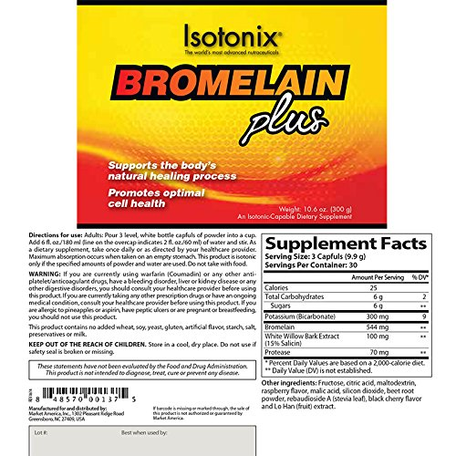 Isotonix Bromelain Plus, Promotes Optimal Cell Health, Supports Body Normal Healing Process, Supports Healthy Joints, Blood Circulation, Healthy Immune System, Market America (30 Servings)