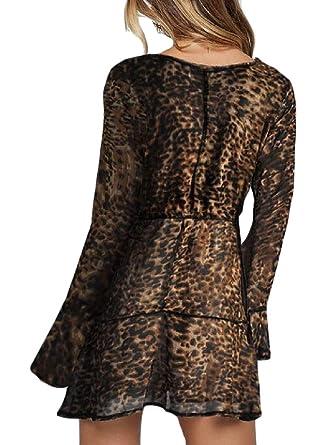 bca0dff82b3256 cfzsyyw Women Sexy V Neck Long Sleeve Leopard Print Chiffon Mini Dress Brown  L