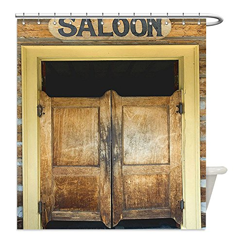 Liguo88 Custom Waterproof Bathroom Shower Curtain Polyester Saloon Decor Collection Authentic Saloon Doors Of Old Western Building In Montana Ghost Town Image Print Sienna Cream Brown Decorative (Western Saloon Costume Ideas)