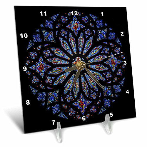 3Stained Glass Rose Window Cathedral Desk Clock