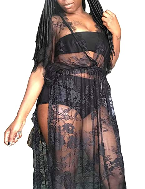 263f4e77182 Vivilover Womens Lace Plus Size Swimsuit Coverup Beach Maxi Long Dress  (black)