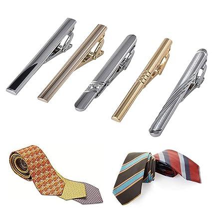 5PCS Clips de corbata para hombre Set Clip de barra de corbata regular Hombres de color