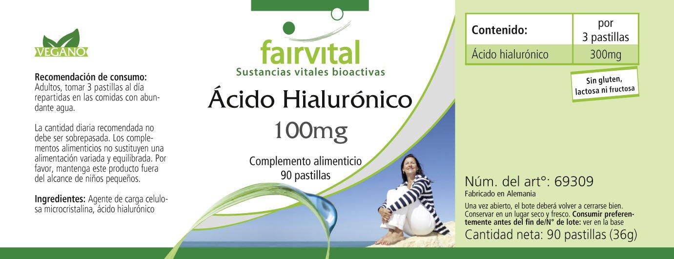 100 mg Ácido hialurónico - para 1 mes - VEGANO - Alta dosificación - 90 comprimidos: Amazon.es: Salud y cuidado personal