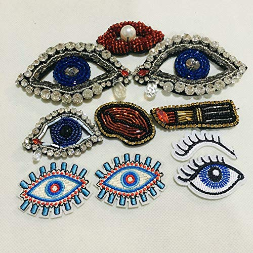 10PCS Eyes Lips Patch No Glue Cartoon Motif Applique Embroidery Garment Accessory
