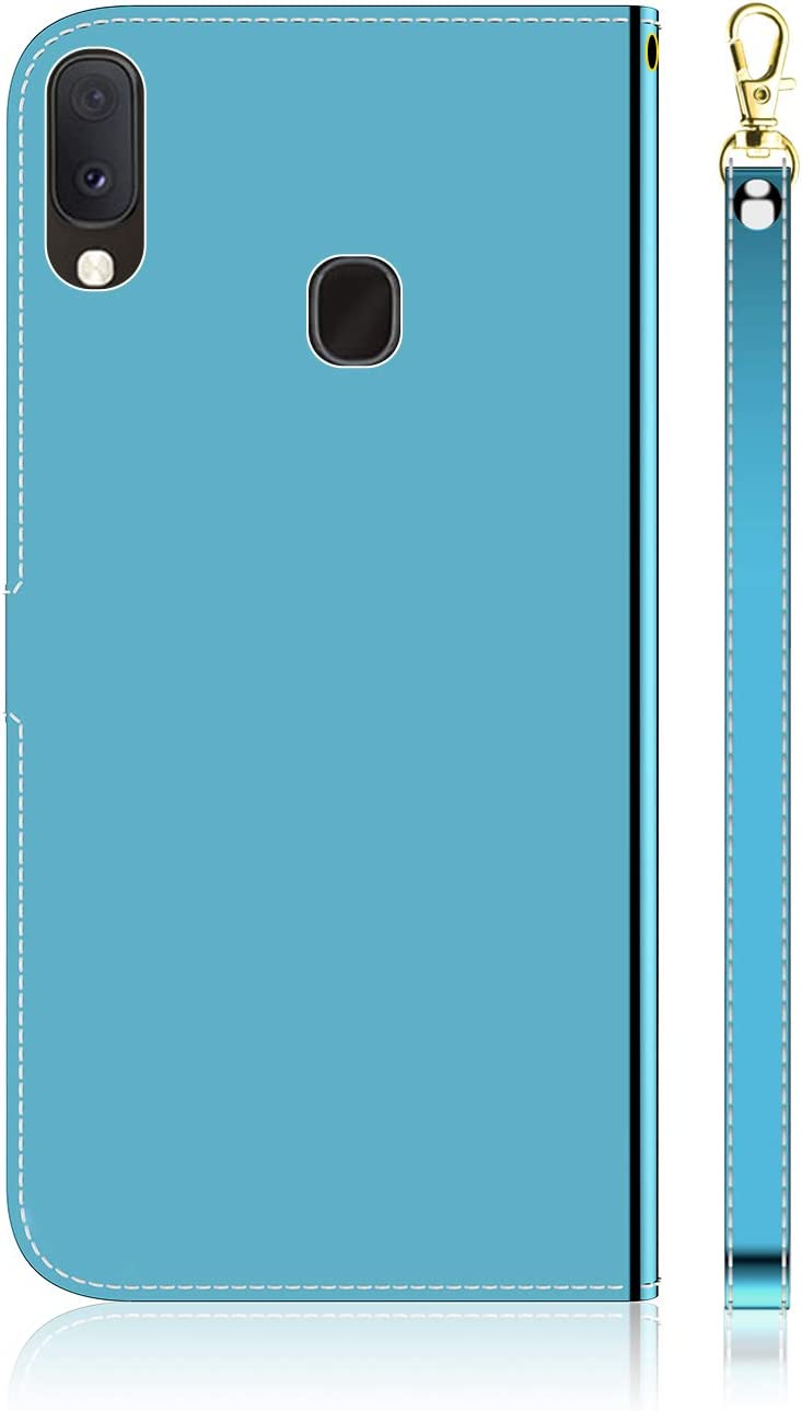 Shinyzone Mirror Leather Flip Cover per Samsung Galaxy A10E A20E,Credit Card Slots Wallet Folding Stand Case with Magnetic Closure and Wrist Strap,Soft Slim Full Body Protective Case,Blue