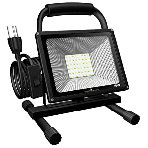 GLORIOUS-LITE 30W LED Work Light Portable, 3000LM LED Outdoor Flood Lights, 6500K White Light,16ft/5M Cord with Plug, IP66 Waterproof, Adjustable Angle Stand Working Lights for Workshop, Garage
