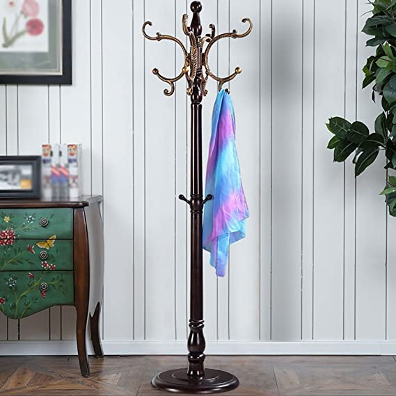 Amazon.com: LXLA- Wooden Coat Rack Floor-standing Hangers ...