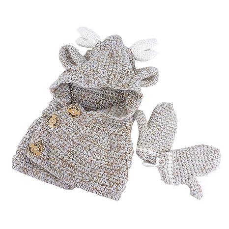 Berretto Cappello Sciarpa + Guanti Bambino Cappello Invernale Guanti  Bambino Antler Forma Cappello Bimba 2- 2de78d2a9ef9