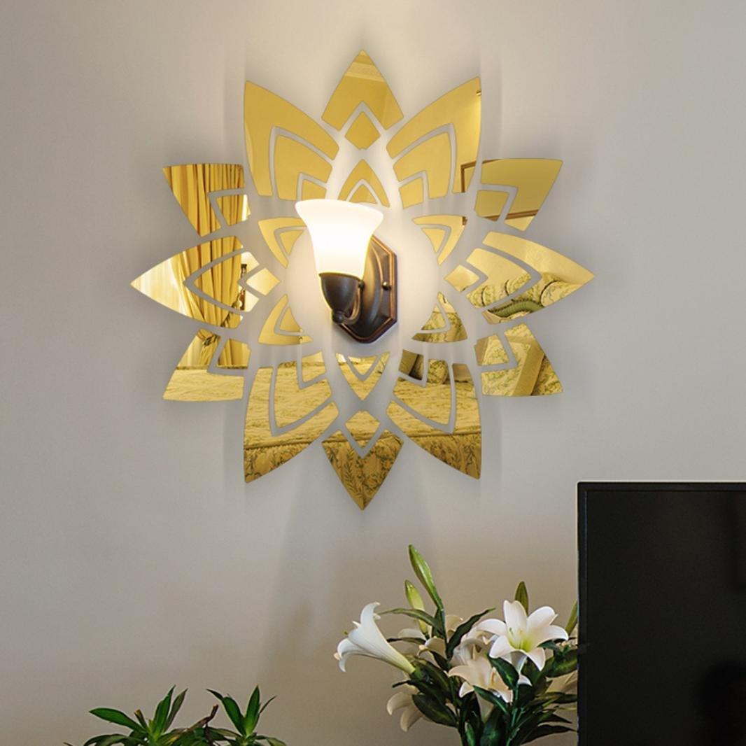 Rumas DIY 3D Acrylic Mirror Wall Sticker, Home Decor for Door Window Ceiling TV Background, Art Mural for Bathroom Kid's Room Office School (M, Gold)