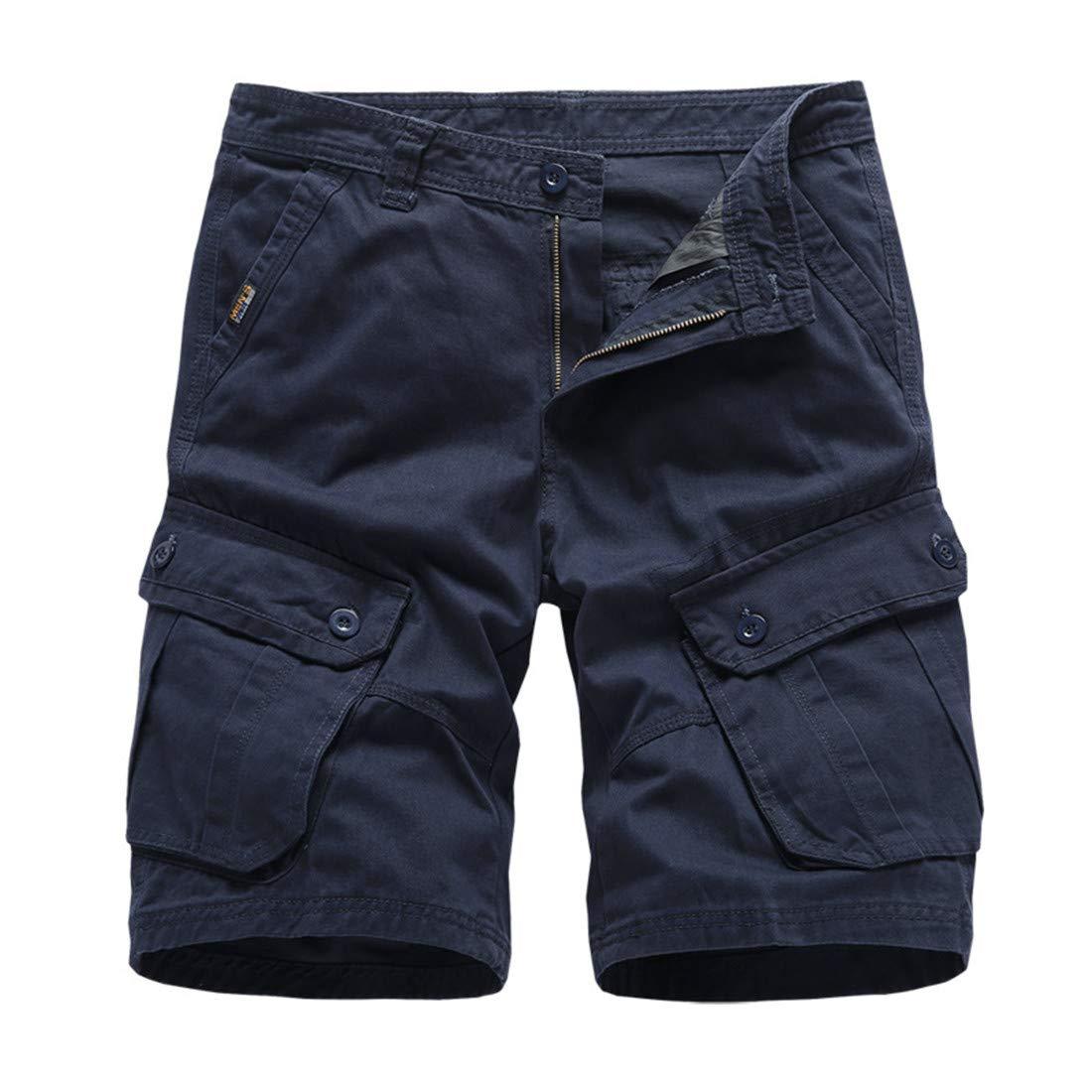 Aeneontrue Mens Cargo Shorts Cotton Multi-Pocket Outdoor Casual Short Pants 30-38
