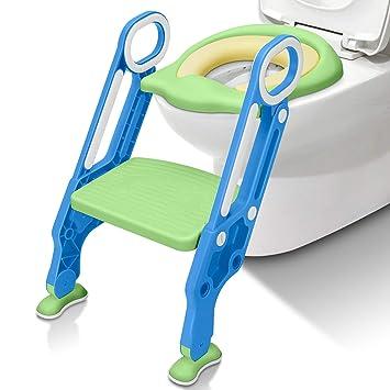 Folding Kids Baby Toilet Padded Seat Ladder Toddler Trainer Step Stool Pink Blue