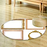 Non Slip Round Rugswood picture frame isolated on a white background Oriental Floor and Carpets-Round 47''