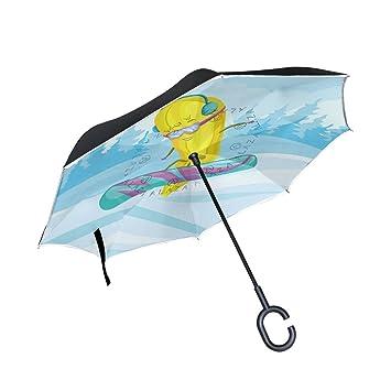 Funny Banana - Paraguas invertido de doble capa para coches, paraguas invertido, impermeable,