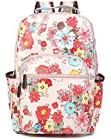 Artone Canvas Vintage Rose Printed Backpack Casual Daypack With Interior Laptop Compartment And Organizer Pockets Pink