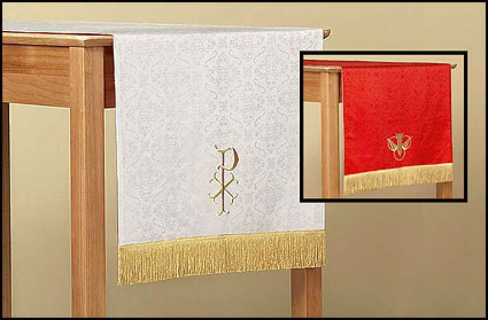 Jacquard Reversible Table Runner with Dove: Red and White