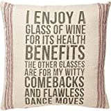 Primitives by Kathy Vintage Flour Sack Style Glass of Wine Throw Pillow, Enjoy Review