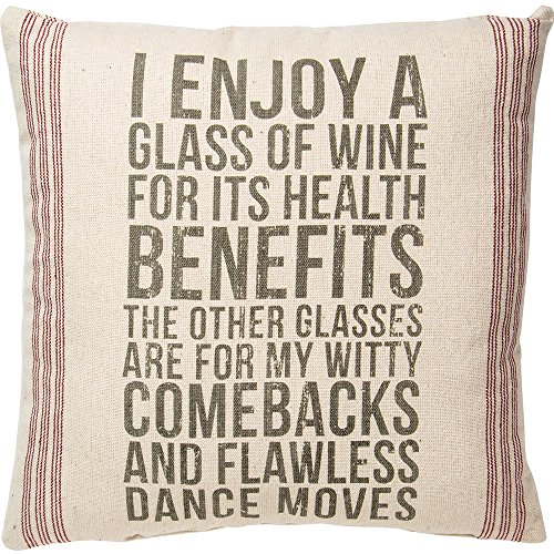 Primitives by Kathy Vintage Flour Sack Style Glass of Wine Throw Pillow, Enjoy Review