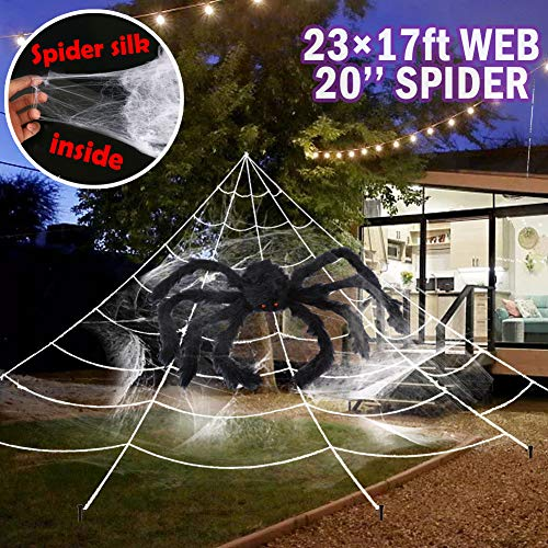 Giant Yard Halloween Decorations Outdoor Spider Web with Big Spider and Stretch Cobweb Set Party Outside Decor Favor Triangular Mega Web 23 x 17 ft