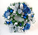Royal Blue Silk Artfiicial Christmas Front Door Wreath - 18 Inch, 24 Inch, and 30 Inch Sizes - (18 Inch)