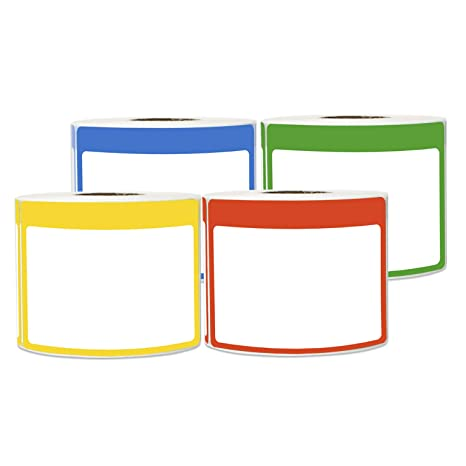 4 Rolls - Plain Writable Name Tag Label Bundle with Colorful Border for  Visitor Badges 3 5