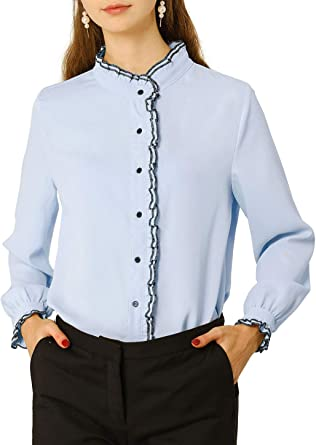 Allegra K Blusa Top De Manga Larga Oficina De Gasa De Trabajo Camisa con Botones Collar con Soporte De Volantes para Mujer: Amazon.es: Ropa y accesorios