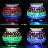 Solar Mosaic Glass Ball Garden Light Ball Mosaic Decorative Lights Stained Glass Decorative Table Lamp Garden, Corridor, Courtyard, Etc. ( Edition : A )