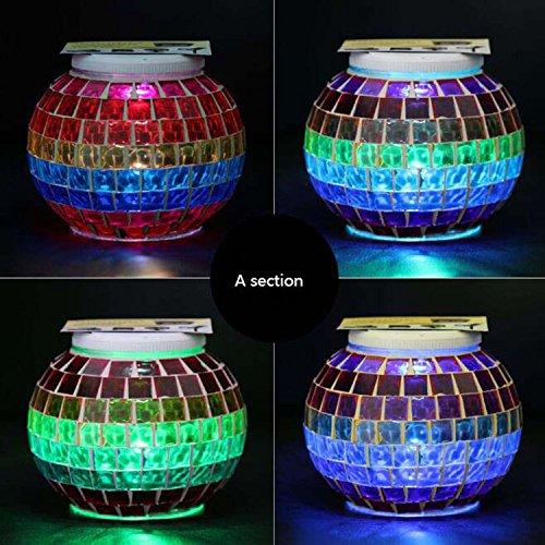 Solar Mosaic Glass Ball Garden Light Ball Mosaic Decorative Lights Stained Glass Decorative Table Lamp Garden, Corridor, Courtyard, Etc. ( Edition : A ) by Hzhy