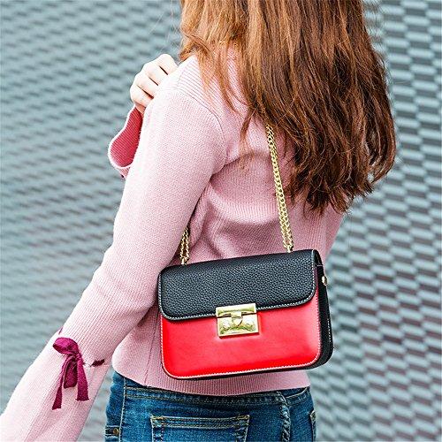 Zip Rouge rétro Un Boucle épaule à Couleur Portable Messenger bandoulière Quotidien Sac carrée Convient Asdflina Hit pour PU Sangle Bag Simple Usage qSHwncWaA