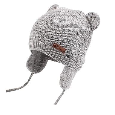 a45e6e5e XIAOHAWANG Warm Baby Hat Cute Bear Toddler Earflap Beanie for Fall Winter  (0-7Months