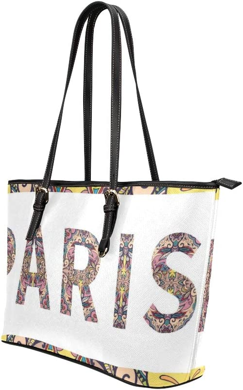 Tribal Ethnic Style Sign India Rome Paris Large Soft Leather Portable Top Handle Hand Totes Bags Causal Handbags With Zipper Shoulder Shopping Purse Luggage Organizer For Lady Girls Womens Work