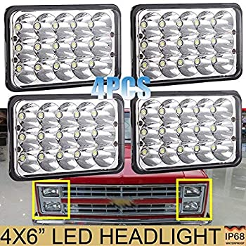 4pcs 4x6 led headlights for chevy pick up trucks c10 c20 k10 k30 k5 blazer  suburban (1981 to 1987), sealed beam high low h4651 h4642 h4652 h4656 h4666  h4668