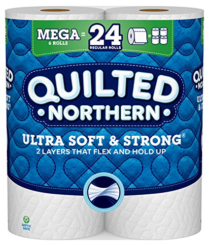Price comparison product image Quilted Northern Ultra Soft & Strong Toilet Paper,  6 Mega Rolls,  6= 24 Regular Bath Tissue Rolls