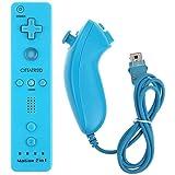 CITTATREND Wired Nunchuck + Wireless Remote Controller con Motion Plus per Nintendo Wii con Package Nintendo console Wii si adatta perfettamente (Videogiochi) 7 colori (azzuro)