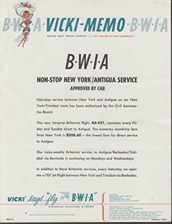 BWIA British West Indian Airways VICKI MEMO 1960s NY/Antigua