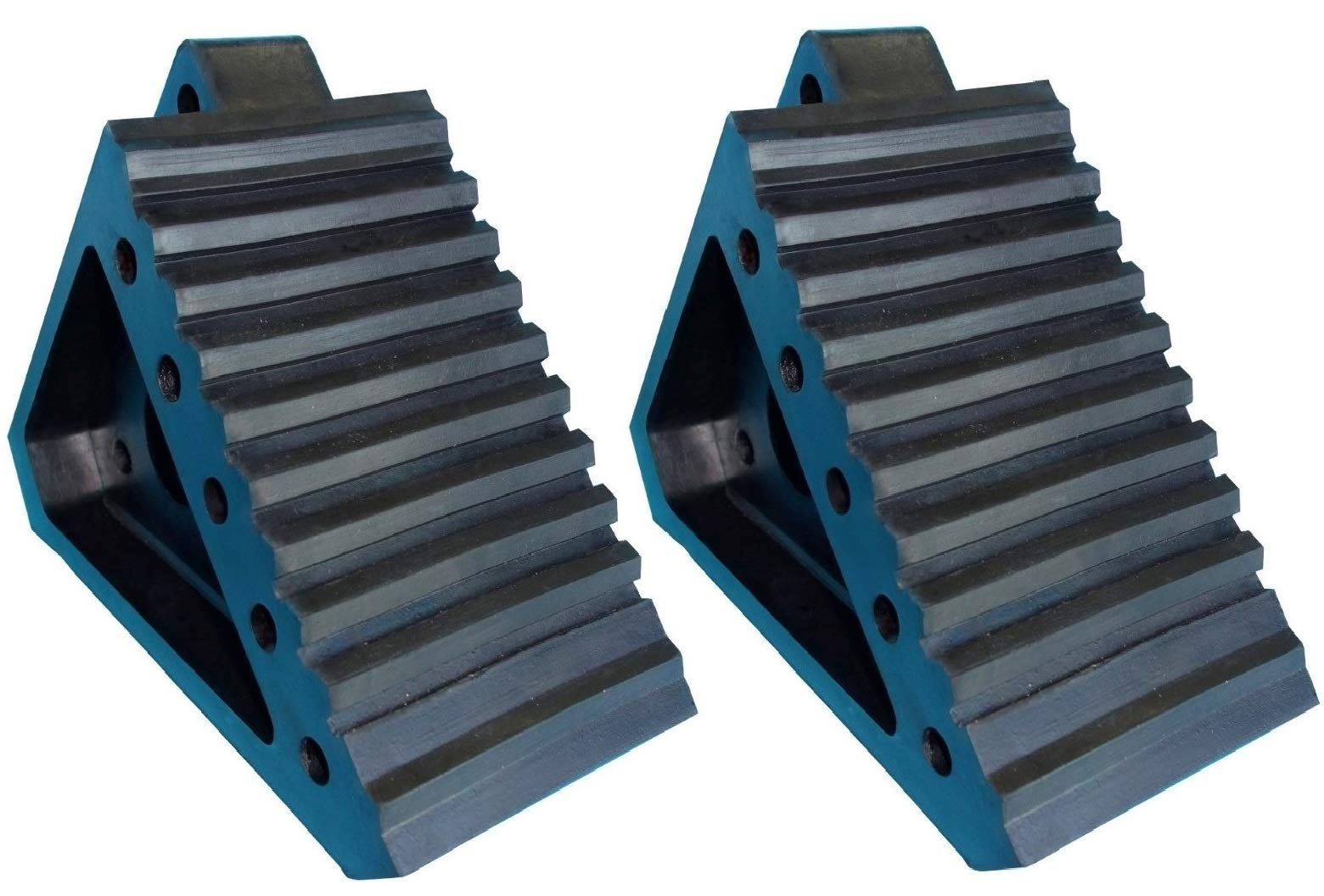 YM W4194 Solid Rubber Wheel Chock with Handle, 8-3/4'' Length, 4'' Width, 6'' Height - Pack of 2 by YM