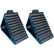"""YM W4194 Solid Rubber Wheel Chock with Handle, 8-3/4"""" Length, 4"""" Width, 6"""" Height - Pack of 2"""