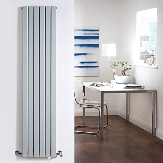 Milano Capri   Silver Flat Vertical Designer Radiator 1600mm X 354mm Double  Panel   Vertical Column