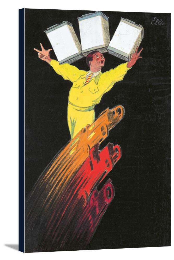 L 'huile de MOTEURヴィンテージポスター(アーティスト: Schiffer )フランスC。1930 11 1/2 x 18 Gallery Canvas LANT-3P-SC-74055-12x18 11 1/2 x 18 Gallery Canvas  B01DZ20OPU