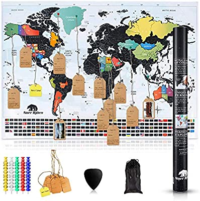 Scratch Off World Map with Tags & Pins | Premium Travel Tracker Wall Poster  with Black Foil & Colorful Design | Perfect Gift Idea for Travelers | US