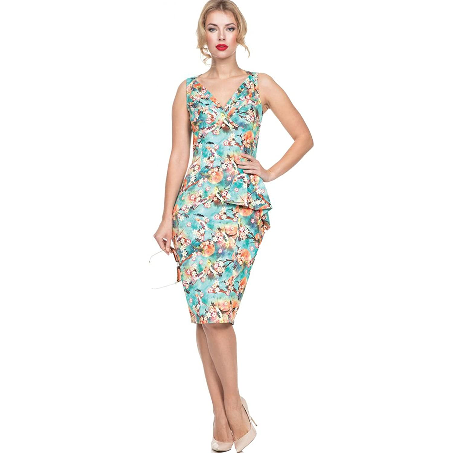 Wiggle Dresses | Pencil Dresses Voodoo Vixen JESSA Tropical Bird Print Pencil Dress Green $57.99 AT vintagedancer.com