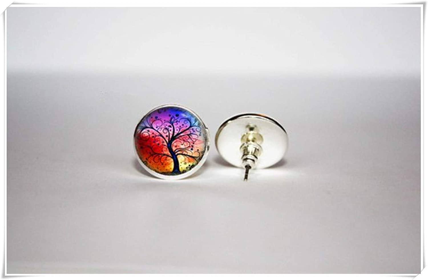 Hand-Made. Tree of Life Stud Earrings,Exquisite Ornaments beautiful beautiful girl Rainbow Tree of Life Earrings Dome Glass Jewelry