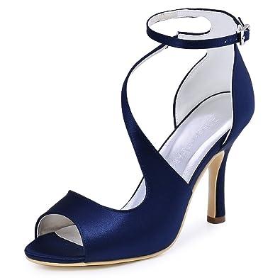 ElegantPark HP1565 Women's Peep Toe High Heels Ankle Strap Buckle Satin  Wedding Evening Dress Sandals Navy