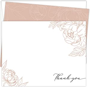 Koko Paper Co Rose Gold Peony Thank You Cards | 25 Flat Note Cards and Envelopes | Printed on Heavy Card Stock.