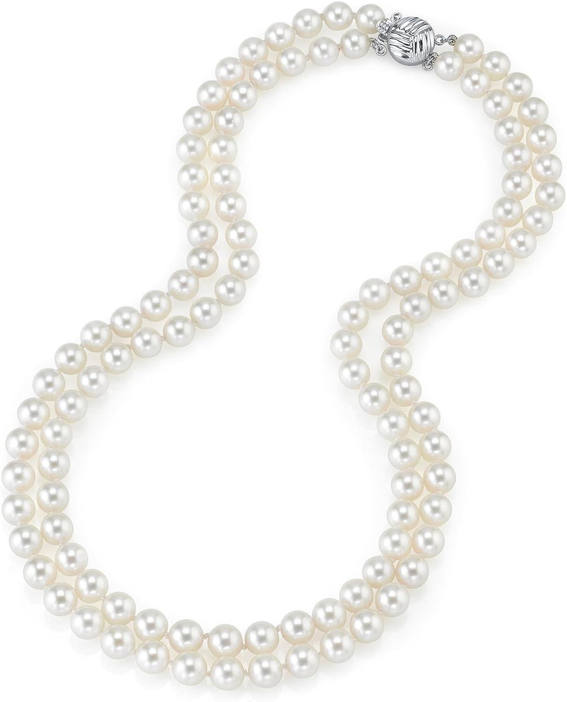 14 K oro 7 -  7,5 millimeter Akoya japonés cultivadas blancas doble hebra de calidad AA + - collar de perlas, 17-18 pulgada